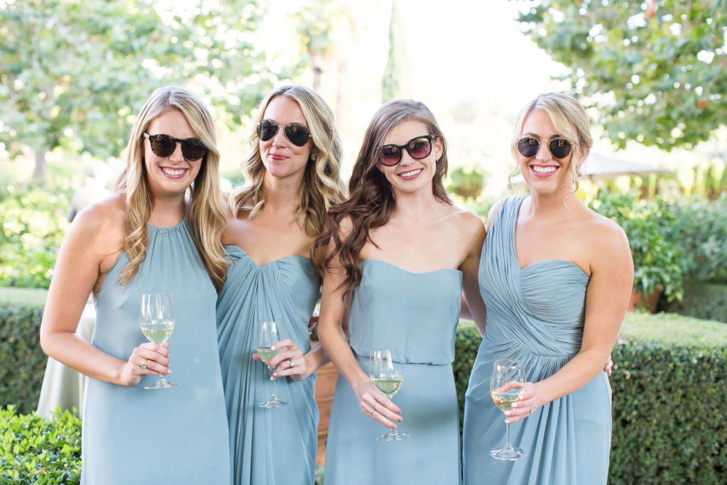 bride's maids line up in sunglasses, wedding catering services by Park Avenue Catering, photo by Kreate Photography